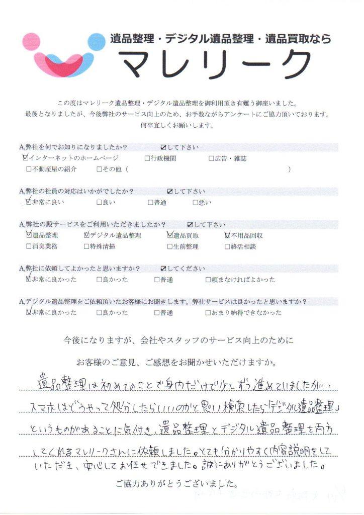 大阪府大阪市西区千代崎にて遺品整理・デジタル遺品整理・遺品買取をさせていただいた時のアンケートです。