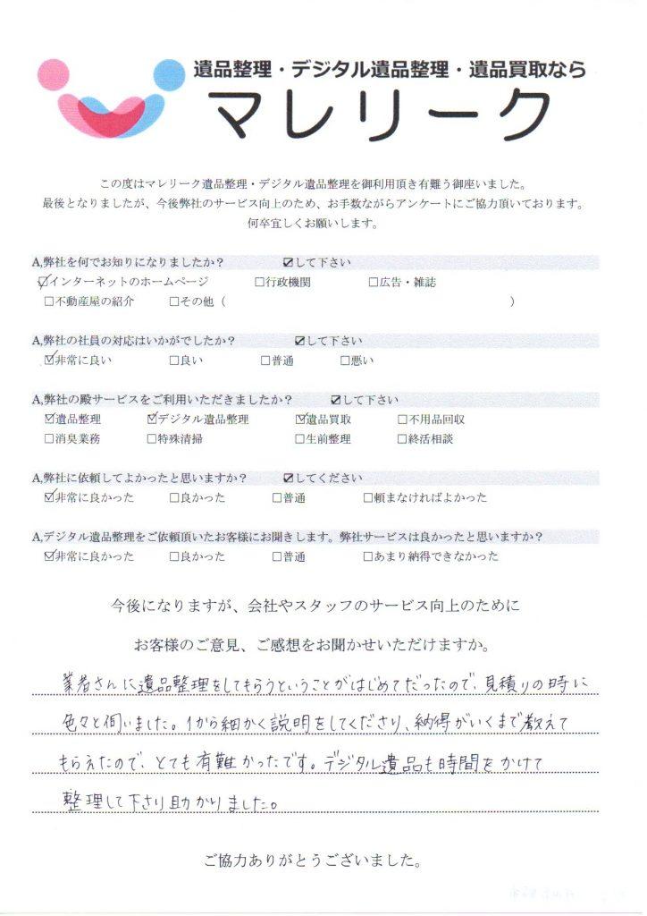 大阪府河内長野市東片添町にて遺品整理・デジタル遺品整理・遺品買取を実施した時にお客様からいただいたアンケートです。