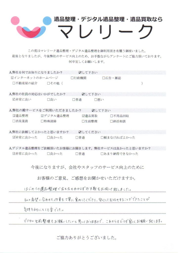 大阪府枚方市都丘町にて遺品整理・デジタル遺品整理・遺品買取を実施した時にお客様からいただいたアンケートです。