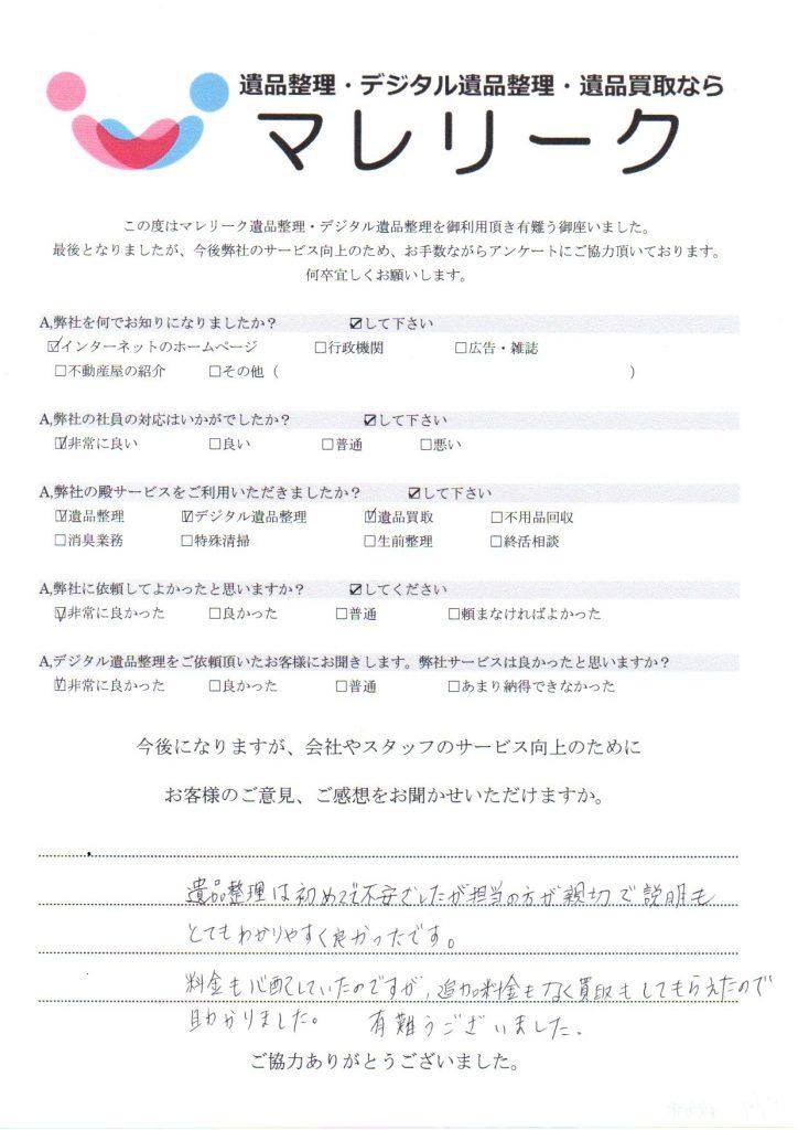 大阪府枚方市岡本町にて遺品整理・デジタル遺品整理・遺品買取を実施した時にお客様からいただいたアンケートです。