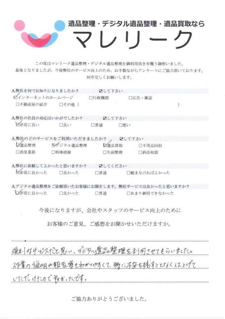 大阪府大阪市東淀川区下新庄で実施したデジタル遺品整理・遺品整理・遺品買取のアンケートです。