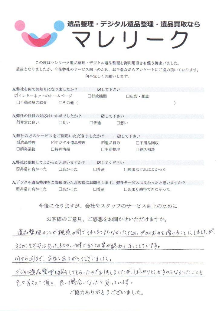 大阪府八尾市陽光園で実施したデジタル遺品整理・遺品整理・遺品買取のアンケートです。