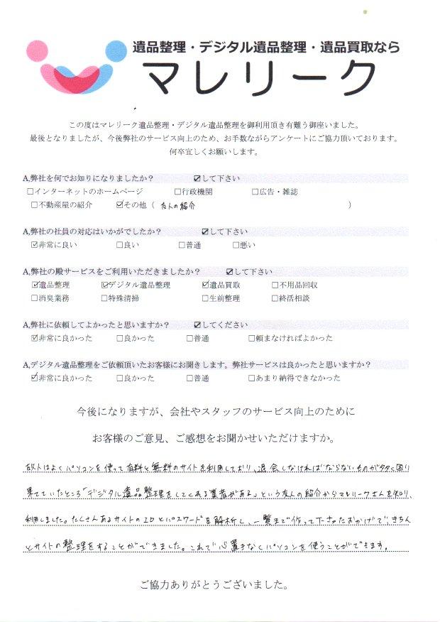兵庫県尼崎市大西町にてデジタル遺品整理・遺品整理・遺品買取を実施した時にお客様からいただいたアンケートです。