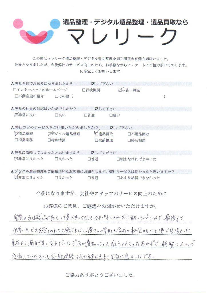 大阪府堺市西区鶴田町で実施したデジタル遺品整理・遺品整理・遺品買取のアンケートです。