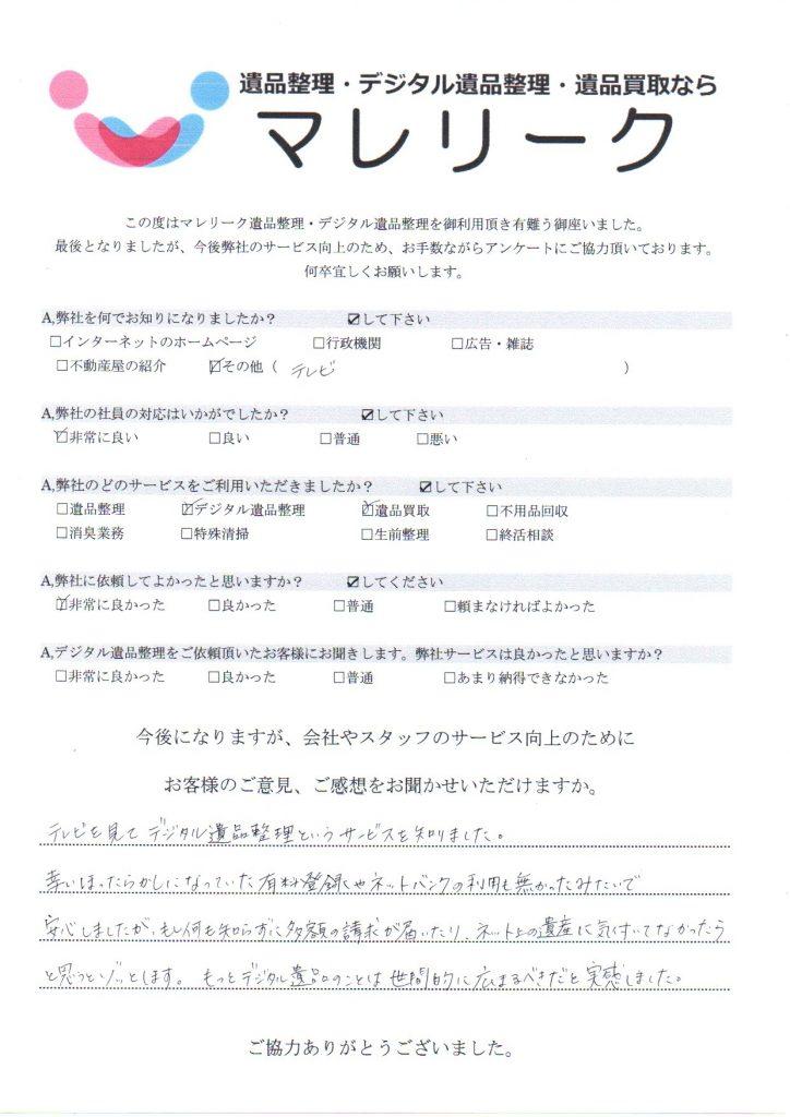 大阪府大阪市淀川区木川西で実施したデジタル遺品整理・遺品買取のアンケートです。