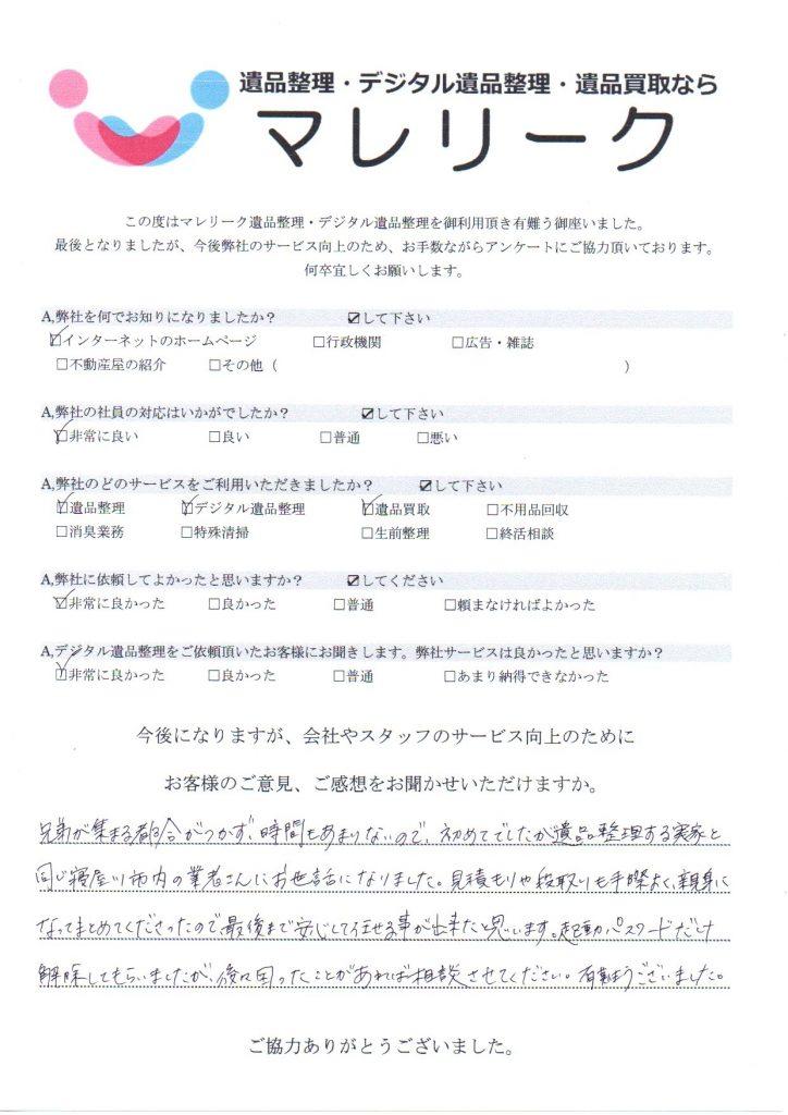 大阪府寝屋川市若葉町で実施したデジタル遺品整理・遺品整理・遺品買取のアンケートです。