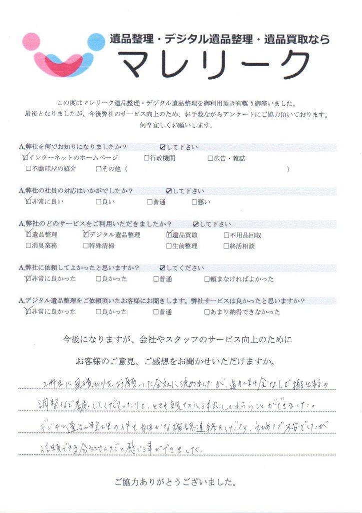大阪府泉南郡岬町孝子で実施したデジタル遺品整理・遺品整理・遺品買取のアンケートです。