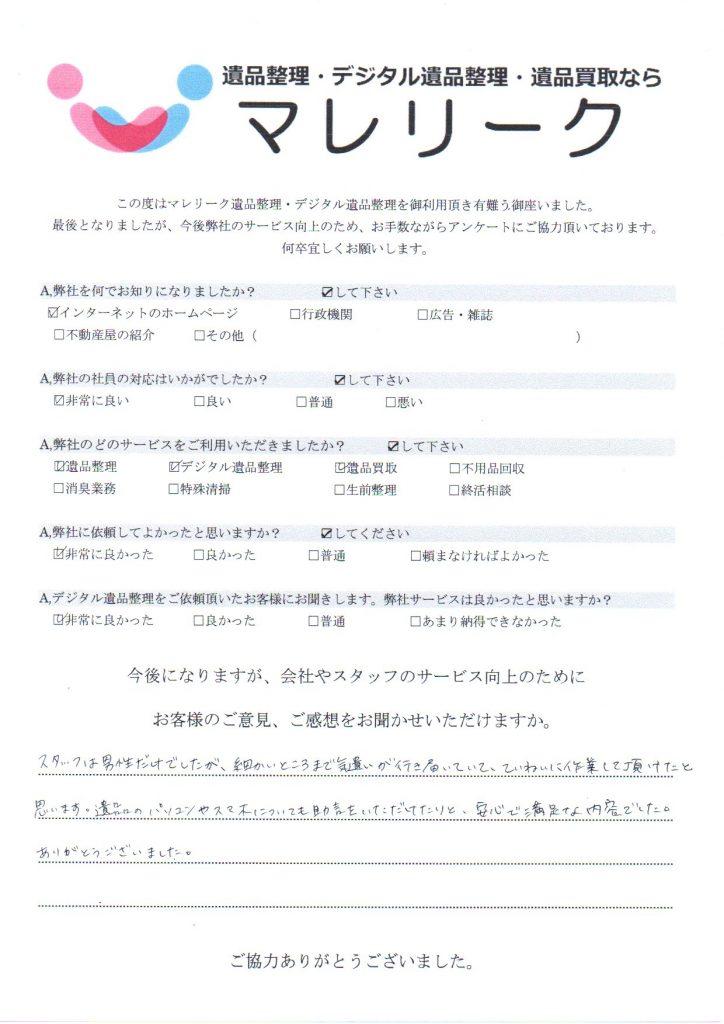 京都府京都市南区塩屋町で実施したデジタル遺品整理・遺品整理・遺品買取のアンケートです。