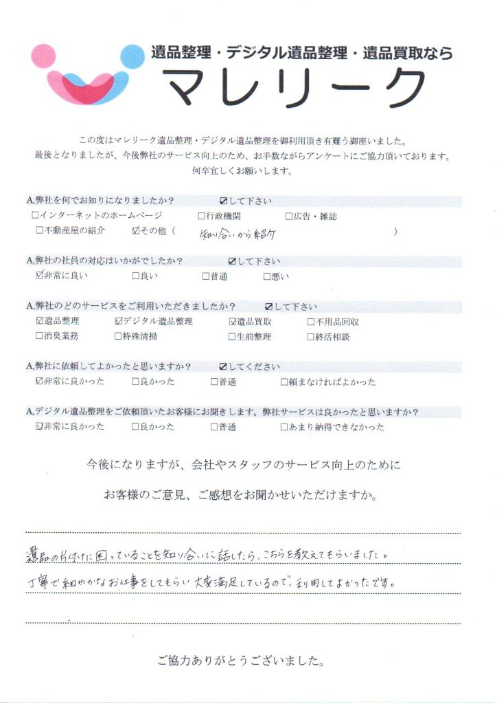 大阪府大阪狭山市狭山で実施したデジタル遺品整理・遺品整理・遺品買取のアンケートです。