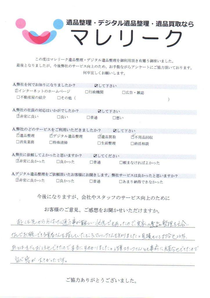 大阪府寝屋川市幸町で実施したデジタル遺品整理・遺品整理・遺品回収のアンケートです。