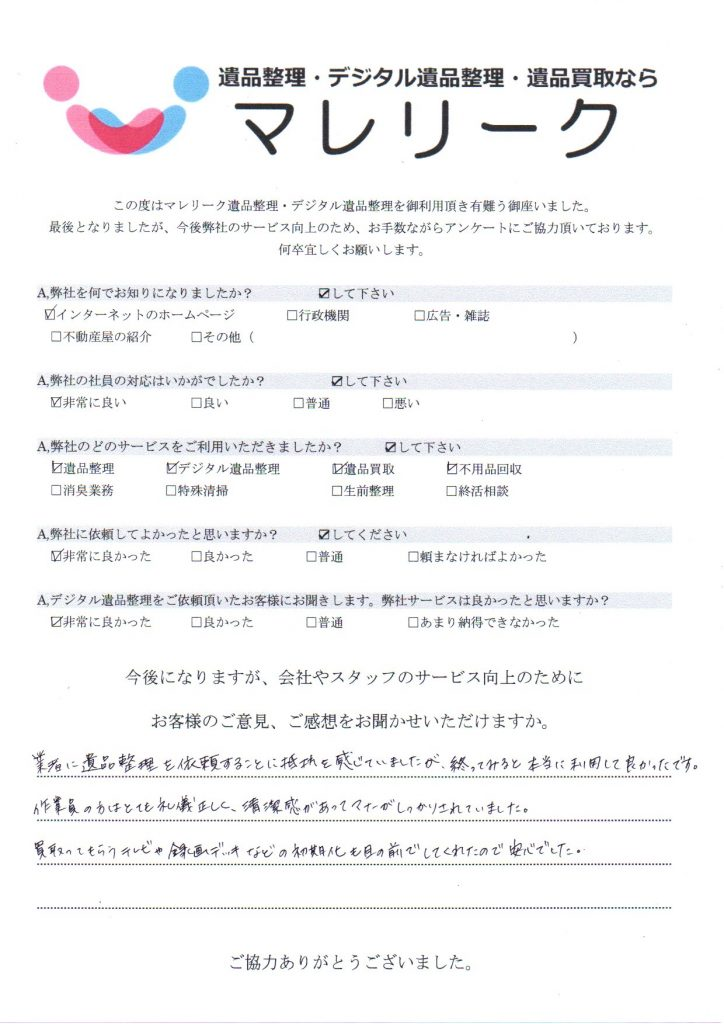 大阪府大阪市中央区鎗屋町で実施したデジタル遺品整理のアンケート紹介